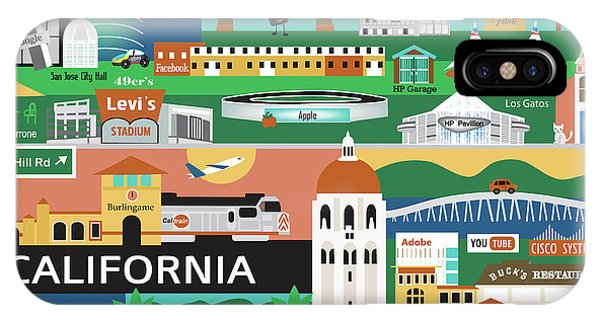 Stanford iPhone Case - Silicon Valley California Horizontal Scene - Collage by Karen Young