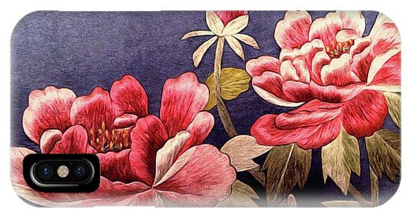 Silk Peonies - Kimono Series IPhone Case