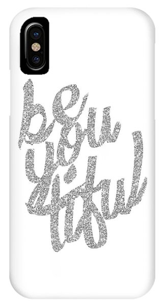 Silver 'beyoutiful' Typographic Poster IPhone Case