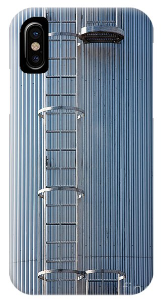 Silver Blue Silo With Steel Ladder. IPhone Case