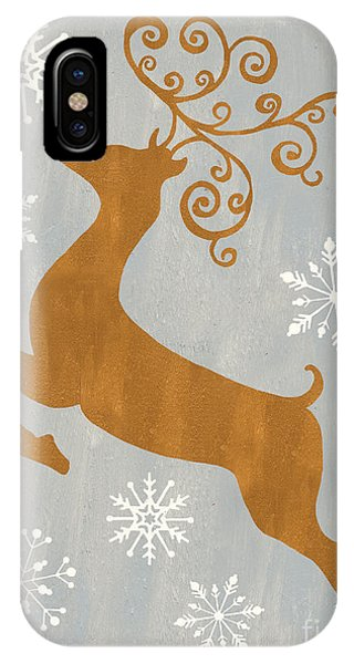 Christmas iPhone Case - Silver Gold Reindeer by Debbie DeWitt