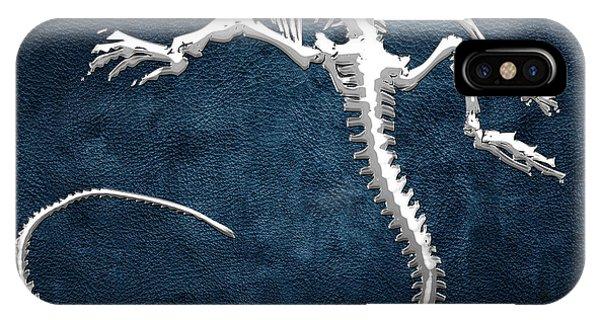 Artwork iPhone Case - Silver Iguana Skeleton On Blue Silver Iguana Skeleton On Blue  by Serge Averbukh