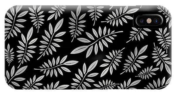 Illustration iPhone Case - Silver Leaf Pattern 2 by Stanley Wong
