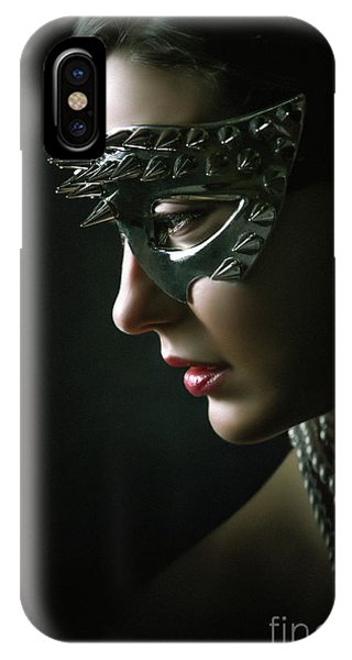 IPhone Case featuring the photograph Silver Spike Eye Mask by Dimitar Hristov