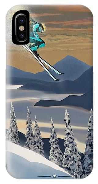 Silver Star Ski Poster IPhone Case