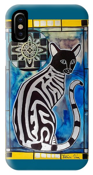 Silver Tabby With Mandala - Cat Art By Dora Hathazi Mendes IPhone Case