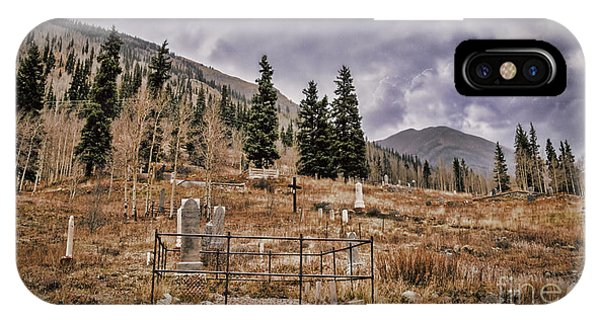Old Rugged Cross iPhone Case - Silverton Colorado Cemetery  by Janice Pariza