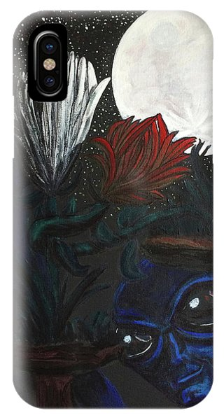 Similar Alien Appreciates Flowers By The Light Of The Full Moon. IPhone Case