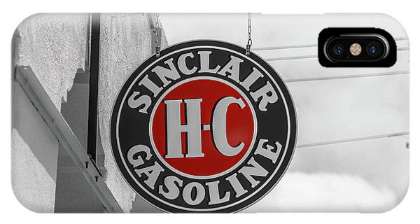 IPhone Case featuring the photograph Sinclair Gasoline Round Sign In Selective Color by Doug Camara