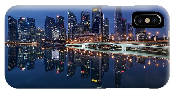 Singapore Skyline Reflection IPhone Case
