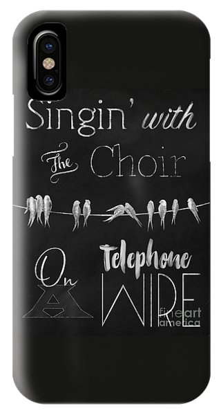 Singing Birds On A Wire Chalkboard Art IPhone Case