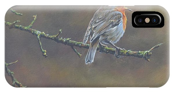 IPhone Case featuring the painting Singing Robin by Alan M Hunt