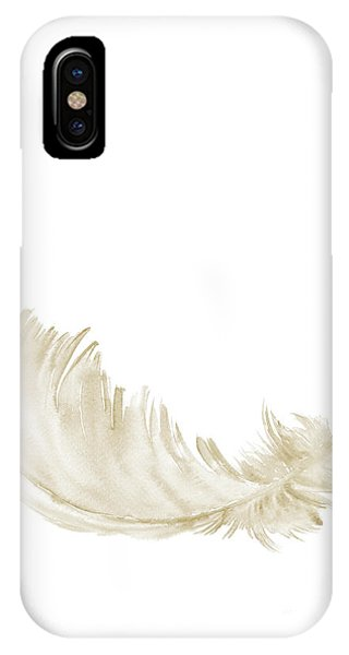 Airy iPhone Case - Single Gold Feather Lying Upright by Joanna Szmerdt
