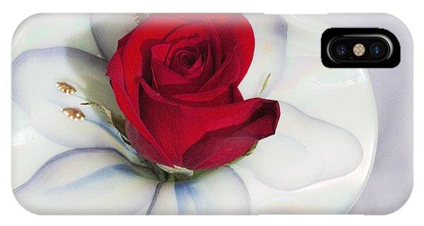 Single Red Rose In Fenton Vase IPhone Case