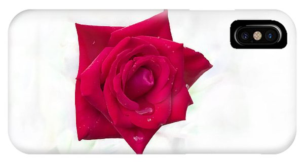 IPhone Case featuring the photograph Single Red Rose by Judy Hall-Folde