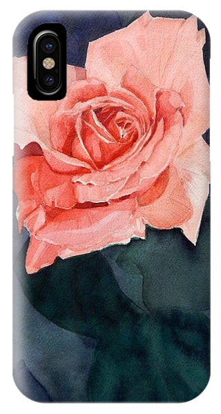 Watercolor Of A Magic Bright Single Red Rose IPhone Case