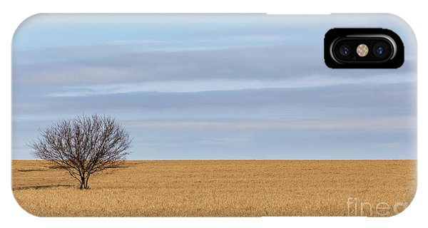 Single Tree In Large Field With Cloudy Skies IPhone Case