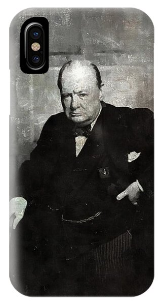 Prime Minister iPhone Case - Sir Winston Churchill Prime Minister Of England by Mary Bassett