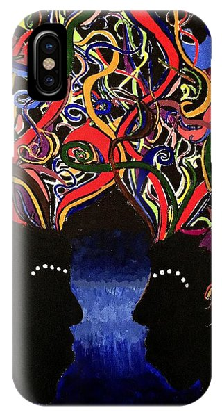 Sis The Twins - Abstract Silhouette Painting - Sisterhood - Abstract Painting  IPhone Case
