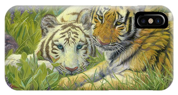 Tiger iPhone Case - Sisters by Lucie Bilodeau