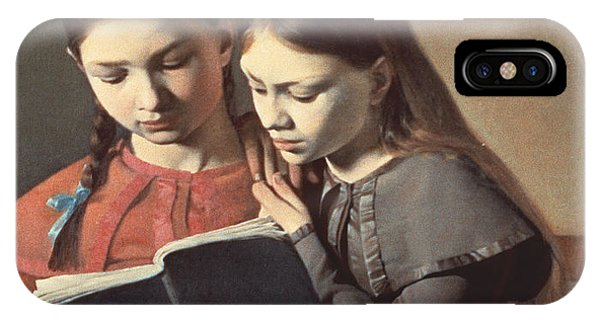 Sisters Reading A Book IPhone Case