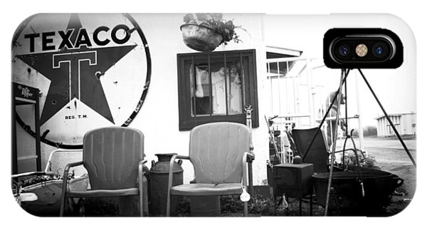 Sitting At The Texaco Black And White IPhone Case
