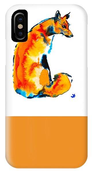 IPhone Case featuring the painting Sitting Fox by Zaira Dzhaubaeva