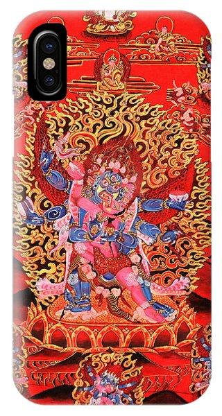 Siddharta iPhone Case - Six-armed Winged Mahakala In Yab Yum by Lanjee Chee