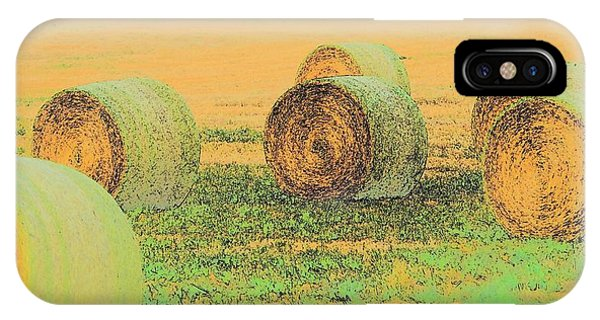 IPhone Case featuring the photograph Six Bales 7409 by Jerry Sodorff