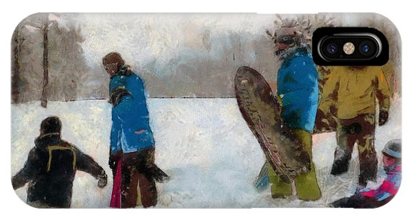 Six Sledders In The Snow IPhone Case
