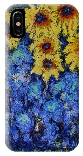 Six Sunflowers On Blue IPhone Case