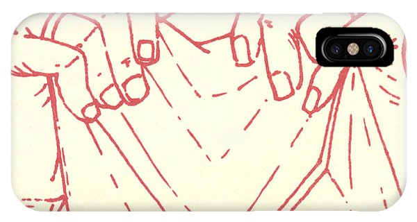 IPhone Case featuring the drawing Sixth Station- Veronica Wipes The Face Of Jesus by William Hart McNichols
