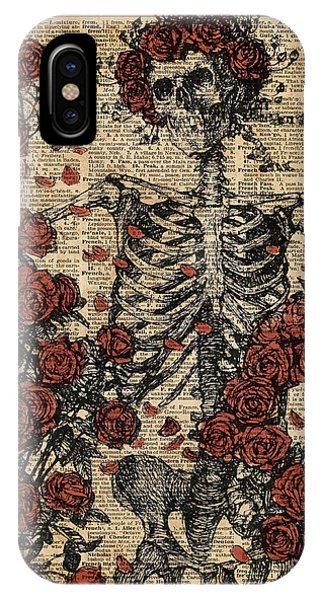 Skull iPhone Case - Skeleton Art, Skeleton With Roses Book Art,human Anatomy by Anna W