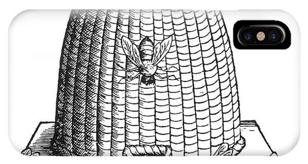 Honeybee iPhone X Case - Skep Beehive, 17th Century by Science Source