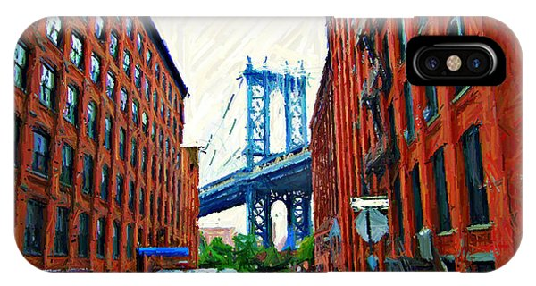 Brownstone iPhone Case - Sketch Of Dumbo Neighborhood In Brooklyn by Randy Aveille