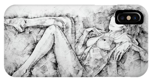 Sketchbook Page 46 Drawing Woman Classical Sitting Pose IPhone Case