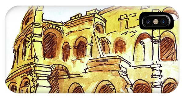 Cathedral Rock iPhone Case - Sketching Italy Rome Colosseum Ruins by Irina Sztukowski