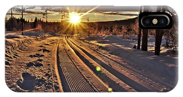 Ski Trails With Sun Beams IPhone Case