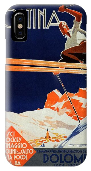 Skiing On The Alps In Cortina - Ice Hockey Tournament - Vintage Advertising Poster IPhone Case