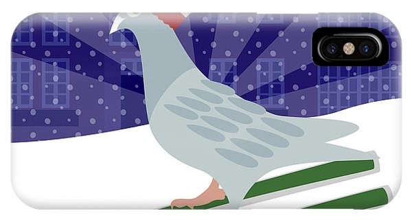 Winter Fun iPhone Case - Skiing Pigeon by Claire Huntley