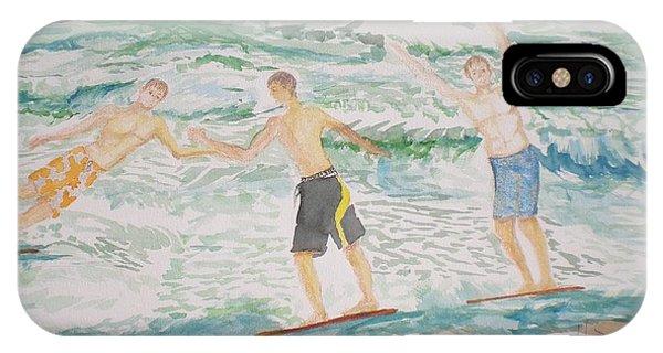 My Son iPhone Case - Skim Boarding Daytona Beach by Hal Newhouser