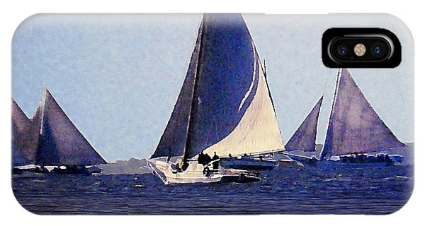 IPhone Case featuring the painting Skipjacks Racing IIi Chesapeake Bay Maryland Contemporary Digital Art Work by G Linsenmayer