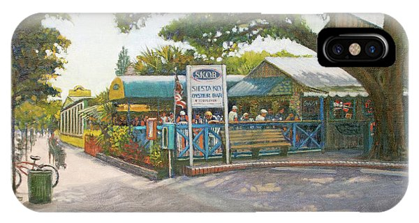 Oyster Bar iPhone Case - Skob, Siesta Key Oyster Bar, Siesta Key Village by Shawn McLoughlin