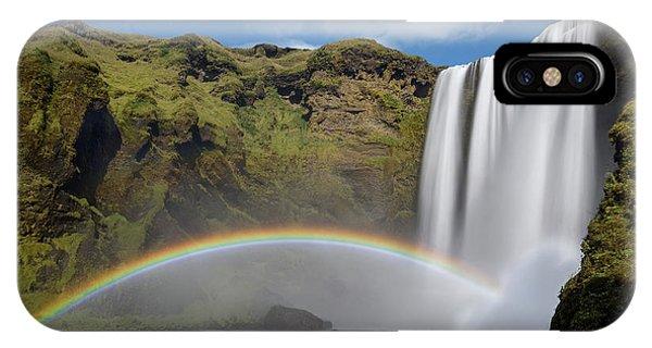 IPhone Case featuring the photograph Skogafoss And Companion Rainbow by Rikk Flohr