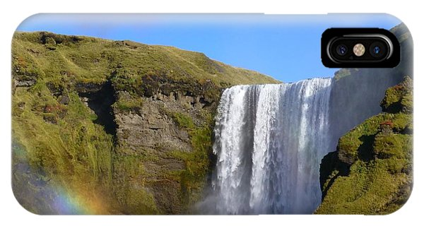 Skogafoss Waterfall With Rainbow 151 IPhone Case