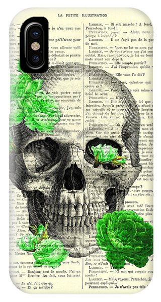 Floral iPhone Case - Skull And Green Roses Illustration by Madame Memento
