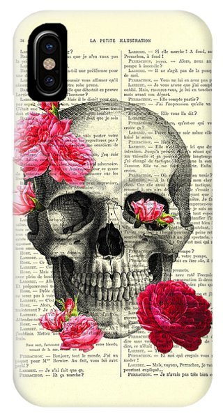 Anatomy iPhone Case - Skull And Pink Roses by Madame Memento