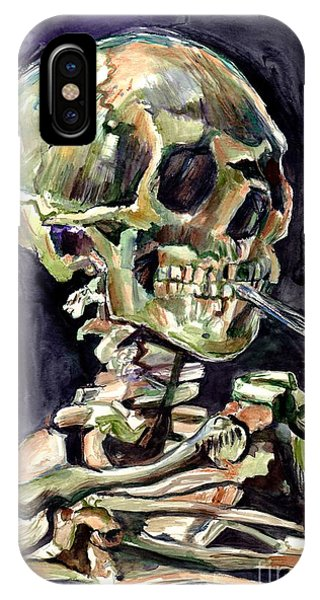 Skull iPhone Case - Skull Of A Skeleton With Burning Cigarette by Suzann Sines