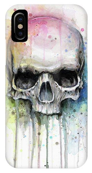 Skull iPhone Case - Skull Watercolor Rainbow by Olga Shvartsur