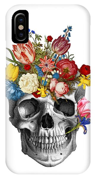 Skull iPhone Case - Skull With Flowers by Madame Memento